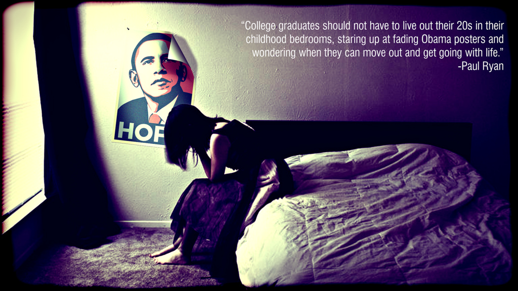 "Image result for image, photo, meme, ""College graduates should not have to live out their 20s in their childhood bedrooms,"" Ryan said, ""staring up at fading Obama posters and wondering when they can move out and get going with life."""