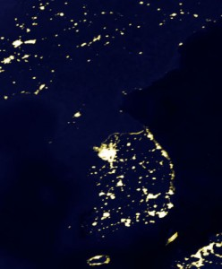 North Korea at night.